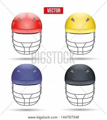 Set of Classic Cricket Helmets Front View. Sport symbol and equipment. Vector Illustration isolated on white background.