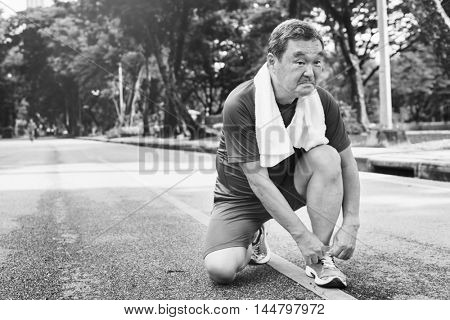 Senior Adult Jogging Running Exercise Sport Activity Concept