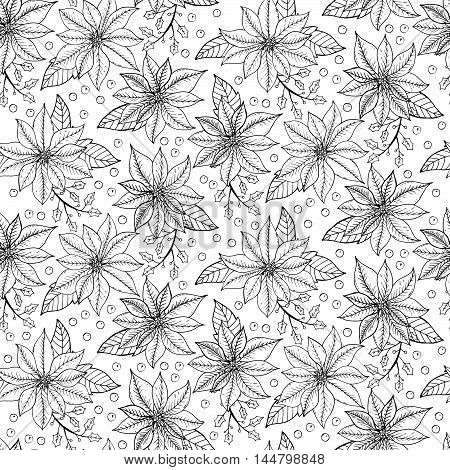 Seamless Christmas Pattern With Poinsettia Flowers