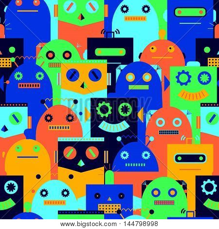 Seamless Pattern With Vintage Robots