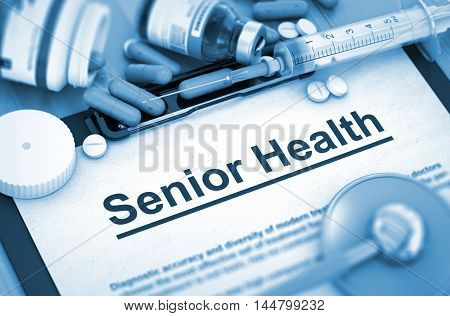 Senior Health - Medical Report with Composition of Medicaments - Pills, Injections and Syringe. 3D Render.