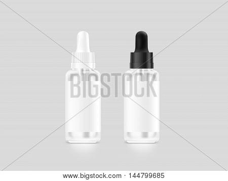 Blank white and black vape liquid dropper bottle mockup isolated clipping path 3d illustration. Vapor juice flacon mock up template. Vaporizer flavor vial. E-cigarette aroma liquid design.