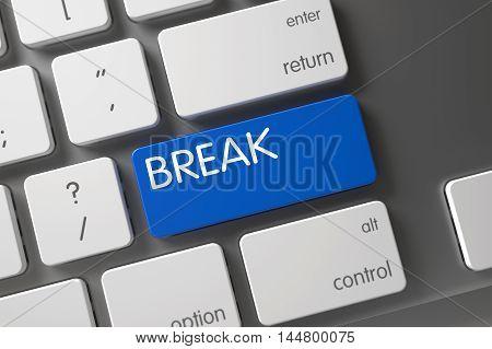 Break Concept Laptop Keyboard with Break on Blue Enter Button Background, Selected Focus. 3D Illustration.