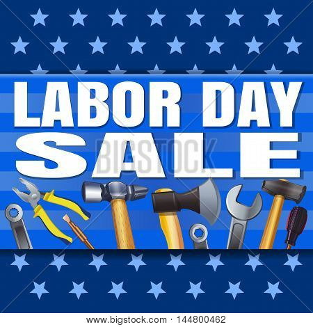 Labor Day Sale. Blue banner with stars and a variety of tools. Vector illustration