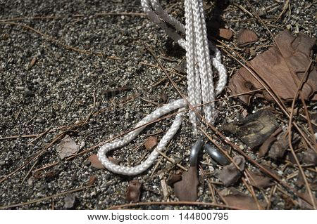 Rope on a camp tent closeup green