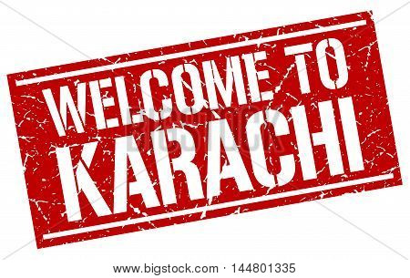 welcome to Karachi. stamp. grunge square sign