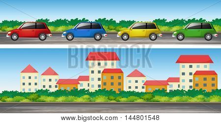 Cars on the road and many buildings illustration
