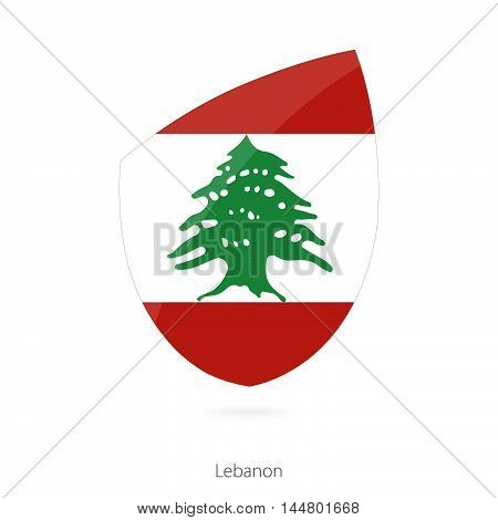 Flag of Lebanon in the style of Rugby icon. Vector Illustration.
