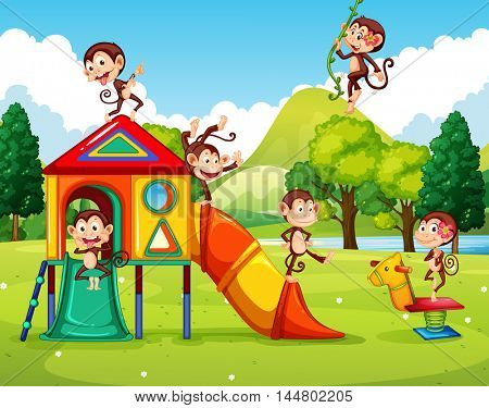 Monkeys playing in the playground illustration