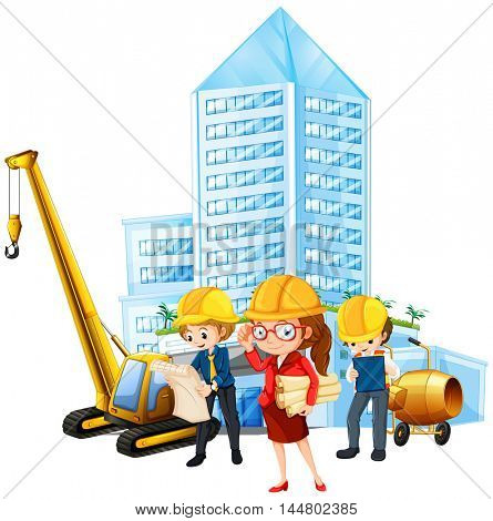 People working on construction site illustration
