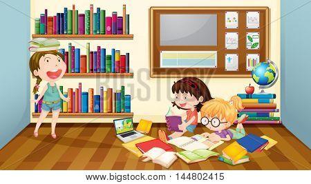 Three girls reading books in room illustration