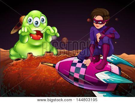 Superhero fighting alien on red planet illustration