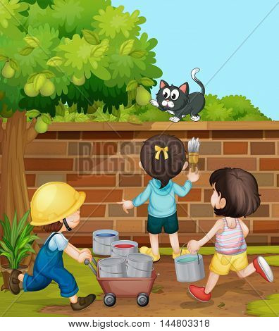 Kids painting brick wall in the garden illustration