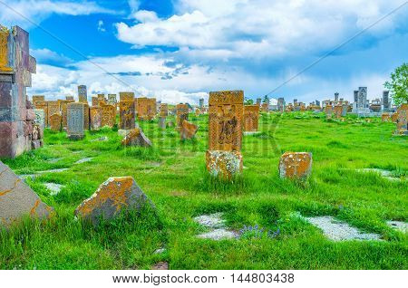 The best way to discover the medieval art of Armenia is to visit Noratus Cemetery located at the Sevan Lake in Gegharkunik Province.