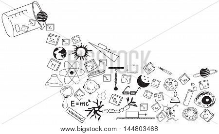 Physics chemistry biology and astronomy science doodle handwriting theory and tool icon pouring from lab beaker bottle in white isolated background paper used for school education and document decoration create by vector