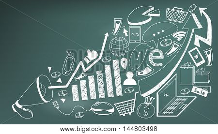 Business media advertising or digital internet marketing handwriting doodle with tool sign and symbol flying from megaphone announcement in blackboard background used for advertisement create by vector