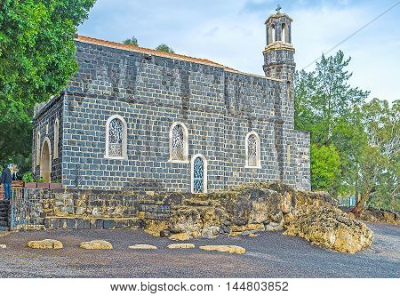 The Church of the Primacy of St Peter located adjacent to the pebble beach at the Sea of Galilee Tabgha Isael.