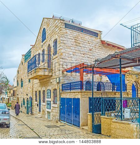 The wet street in Safed the Judaism's Holy City and center of Kabbalah(Jewish mysticism) Israel.