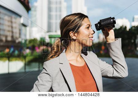 Binocular Business Marketing Finding Success Concept