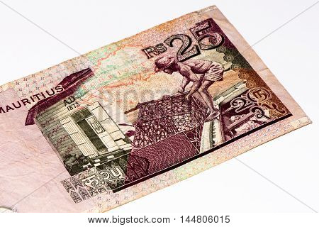 25 Mauritian rupees bank note. Mauritian rupee is the main currency of Mauritius