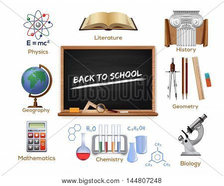 Set school icons. School subjects - physics literature history geometry biology chemistry mathematics geography. Back to school. Vector color icons isolated on white background