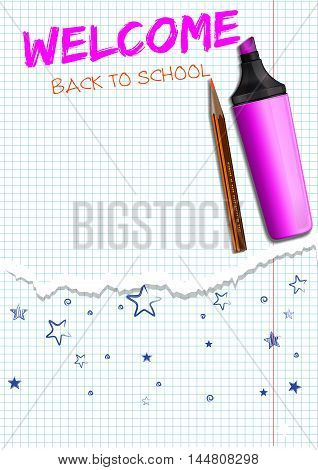 Inscription pink marker in a school notebook - Back to school. Back to school lettering. Marker and pencil on the white squared paper sheet. Realistic vector illustration