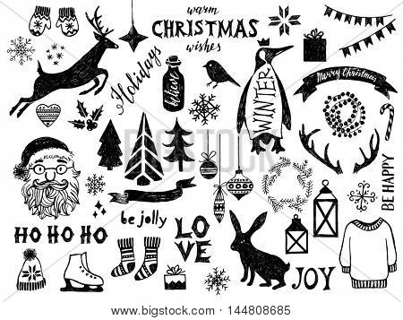 Hand drawn black and white Christmas design elements