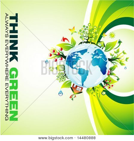 VECTOR Think green to save the planet background