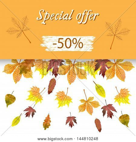 Autumn sale banner with colorful watercolor leaves. Vector fall background.
