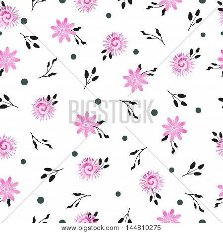 Floral lilac seamless pattern. Vector background with simple watercolor violet flowers and black leaves on white.