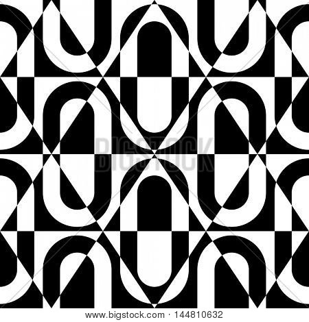 Seamless Geometric Pattern. Vector Black and White Texture. Modern Party Background