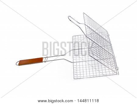 Steel grill grates with wooden handle on a light background
