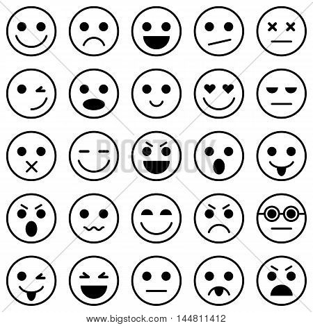 Set of Emoticons. Set of Emoji. Emoticon icons. Emoticon flat design. Emoticon collection. Isolated vector illustration