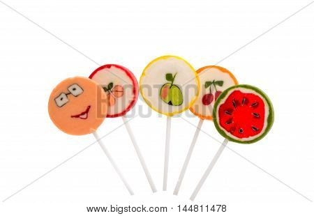 lollipop fruity candy on a white background