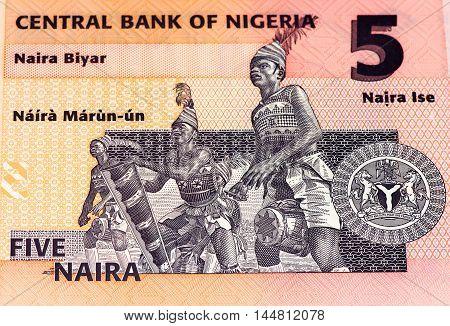 5 Nigerian naira bank note. Nigerian naira is the main currency of Nigeria