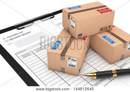 Cardboard Parcel Package over Delivery Note on a white background. 3d Rendering