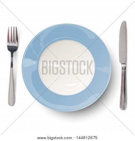 Empty blue plate with knife and fork. View from above.