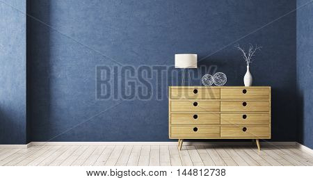 Interiorof Room With Wooden Cabinet 3D Rendering