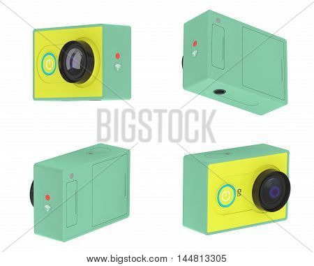 Small Ultra HD Action Camera on a white background. 3d Rendering