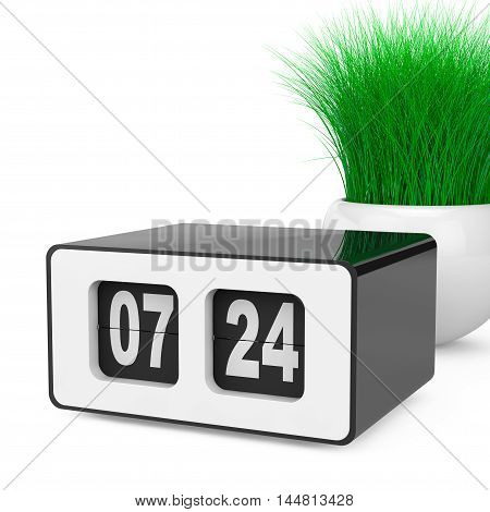 Vintage Flip Clock with Grass in White Ceramics Planter on a white background. 3d Rendering