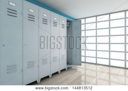 Grey Metal Lockers in front of blue wall. 3d Rendering
