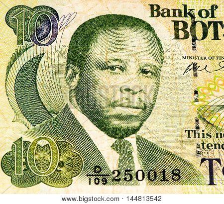 10 pula of Botswana.Pula is the national currency of Botswana