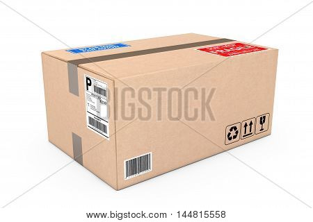 Cardboard Parcel Package on a white background. 3d Rendering