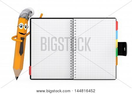 Cartoon Pencil Character near Personal Diary or Organiser Book with Blank Pages on a white background. 3d Rendering