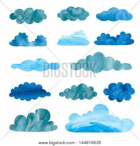Set of watercolor rainy clouds. Collection of thunderclouds isolated on white.