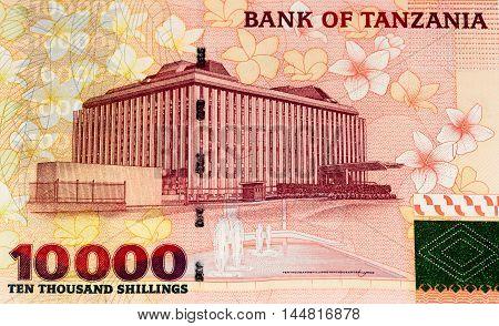 10000 Tanzanian shillings bank note. Tanzanian shilling is the national currency of Tanzania