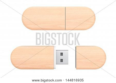 Wooden USB Flash Memory Drives on a white background. 3d Rendering
