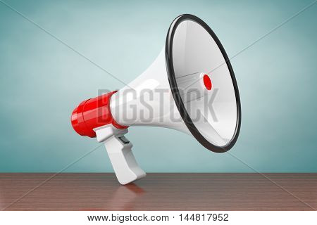 Old Style Photo. Retro Megaphone on a wooden table. 3d Rendering