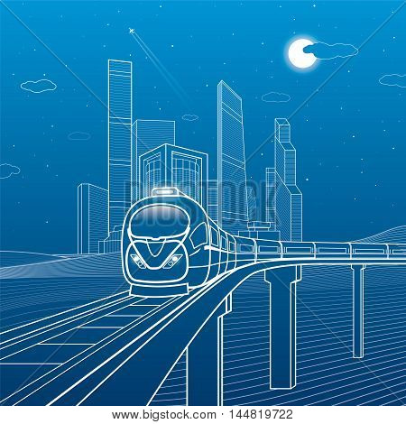 Train move on the bridge. Business center, architecture, transport and urban illustration, neon city, white lines composition, skyscrapers and towers, vector design art