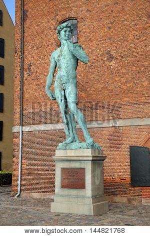 The bronze replica of Michelangelo's David statue in Copenhagen Denmark